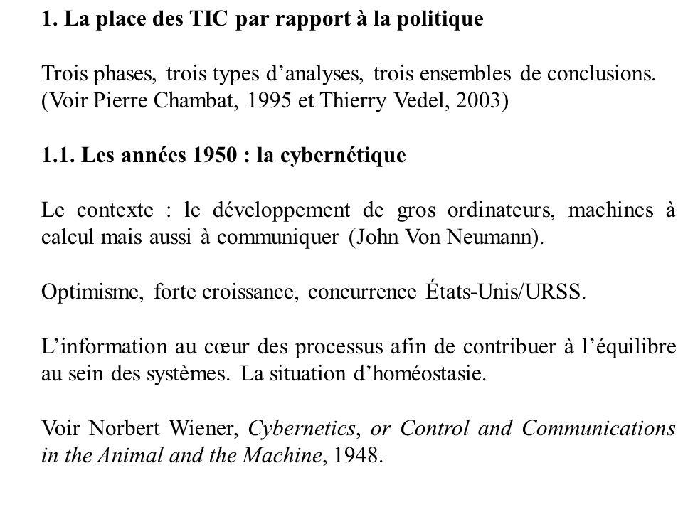 1. La place des TIC par rapport à la politique Trois phases, trois types danalyses, trois ensembles de conclusions. (Voir Pierre Chambat, 1995 et Thie