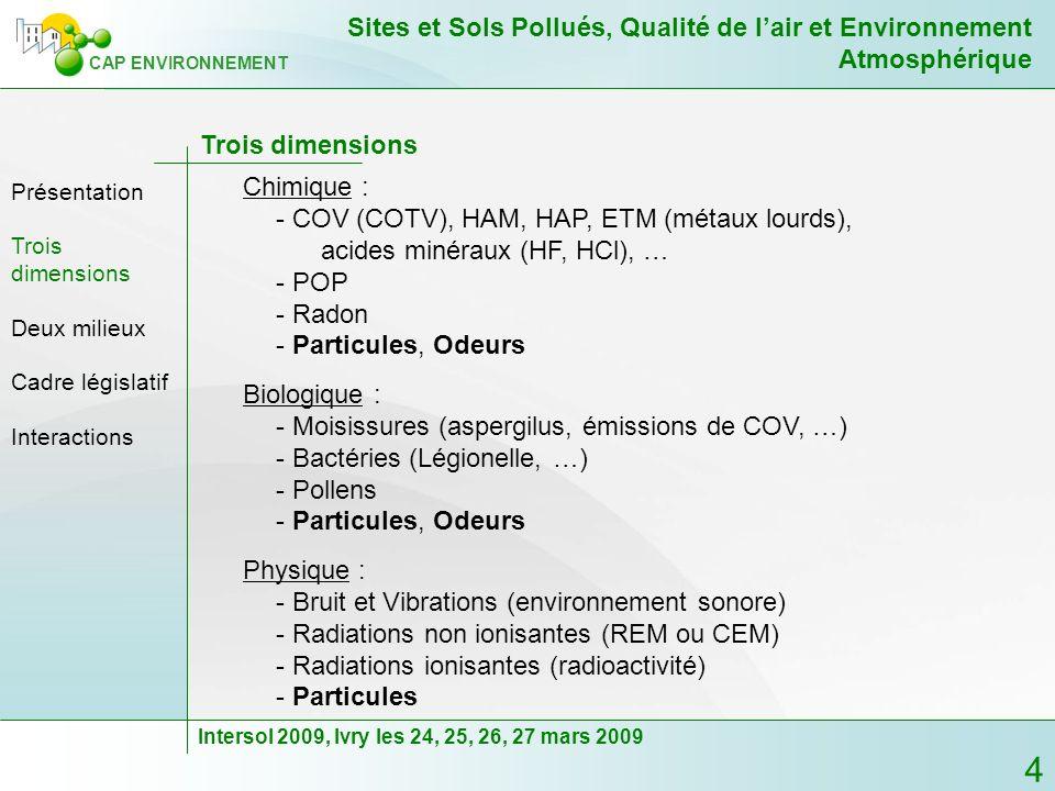 15 CAP ENVIRONNEMENT Sites et Sols Pollués, Qualité de lair et Environnement Atmosphérique Intersol 2009, Ivry les 24, 25, 26, 27 mars 2009 Les zones déchange et la protection des « cibles » - Des sols vers les bâtiments industriels Pas ou peu de risques sanitaires aigus directement lié aux sols pollués Possibilité de risques sanitaires chroniques entre autre avec les CMR Fixation des VTR ; les VLEP ne conviennent que si lexposition aux émissions des sols sont de même nature que celles potentiellement présentes aux postes de travail (notion de poste de travail) Problèmes dodeurs Trois dimensions Présentation Deux milieux Cadre législatif Interactions