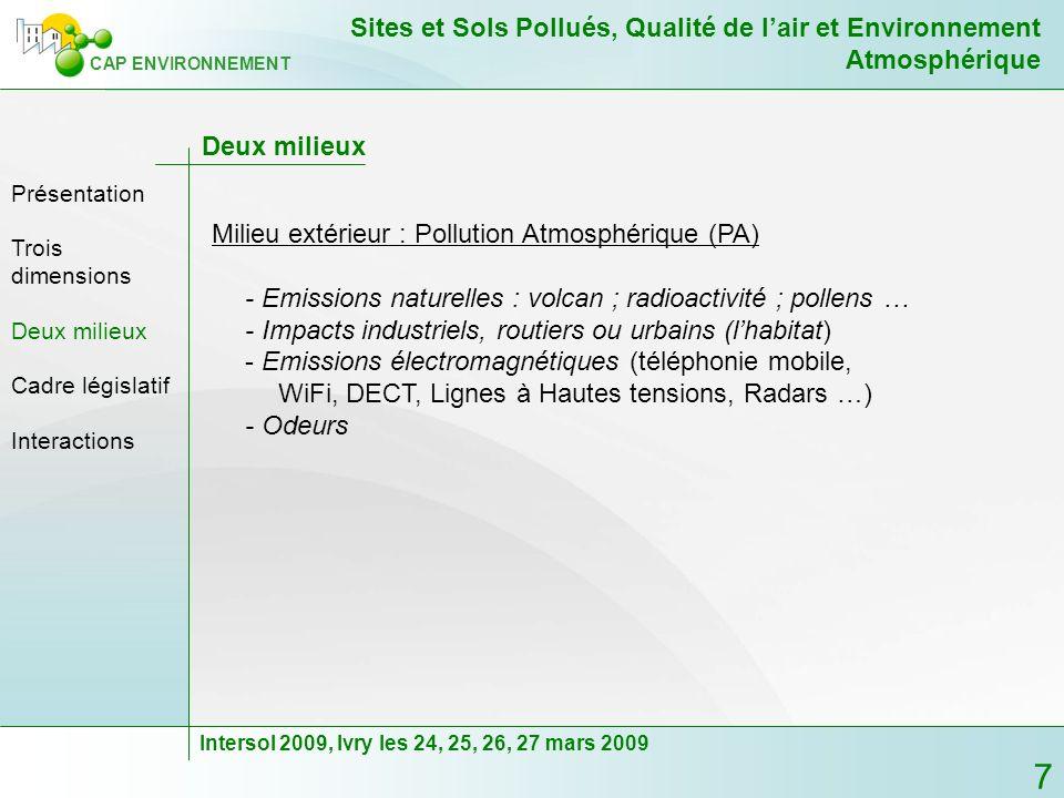 8 CAP ENVIRONNEMENT Sites et Sols Pollués, Qualité de lair et Environnement Atmosphérique Intersol 2009, Ivry les 24, 25, 26, 27 mars 2009 Cadre législatif - Les organisations internationales : Recommandations LOMS LOIT - Directives européennes : Directives cadre 96/62/CE du 27 septembre 1996 concernant lévaluation et la gestion de la qualité de lair ambiant Directives filles pour la fixation des valeurs limites de polluants Directive 1999/13/CE du 11 mars 1999 dite «directive COV» Directive 2003/87/CE sur les quotas démissions de GES Directive 2004/40/CE sur lexposition professionnelle aux champs électromagnétiques Trois dimensions Présentation Deux milieux Cadre législatif Interactions