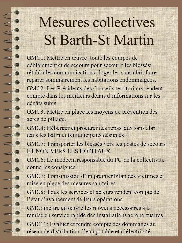 Mesures collectives St Barth-St Martin GMC1: Mettre en œuvre toute les équipes de déblaiement et de secours pour secourir les blessés; rétablir les co