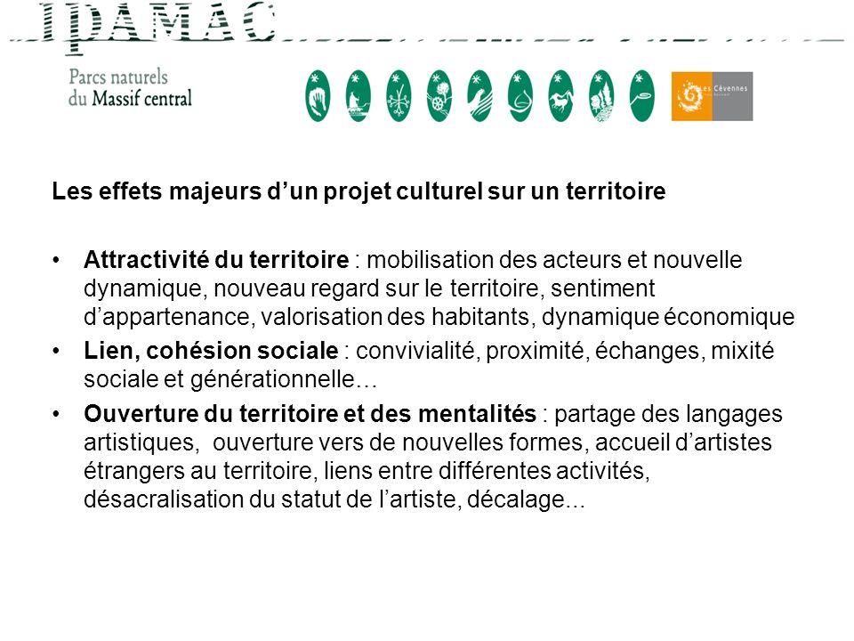 Les effets majeurs dun projet culturel sur un territoire Attractivité du territoire : mobilisation des acteurs et nouvelle dynamique, nouveau regard s