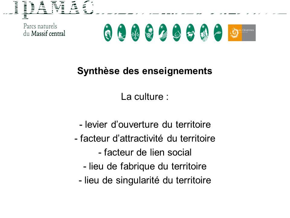 Synthèse des enseignements La culture : - levier douverture du territoire - facteur dattractivité du territoire - facteur de lien social - lieu de fab