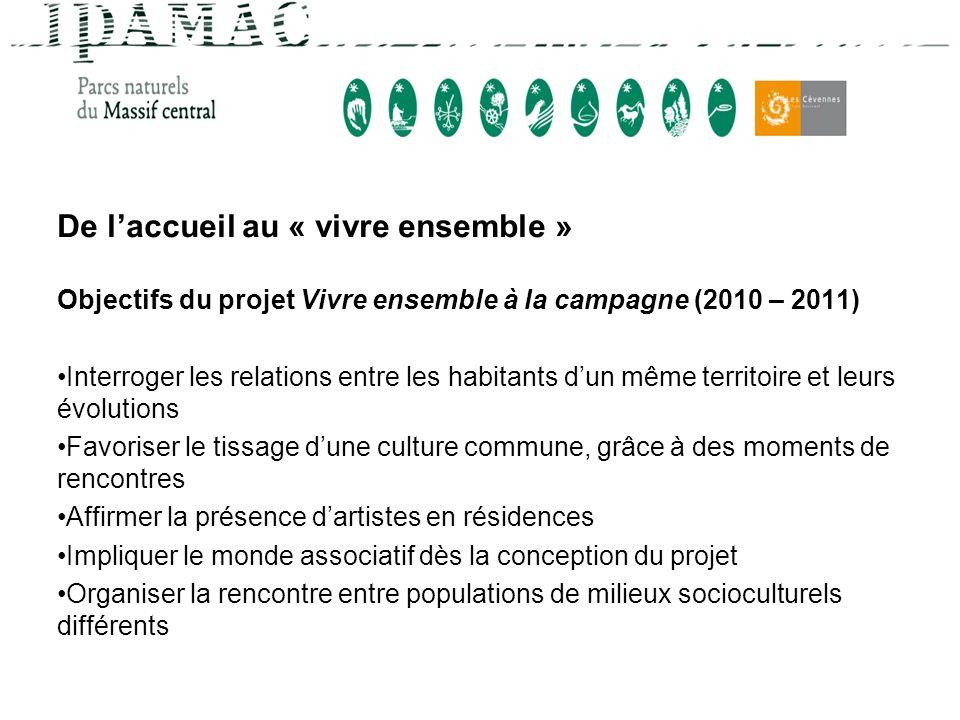De laccueil au « vivre ensemble » Objectifs du projet Vivre ensemble à la campagne (2010 – 2011) Interroger les relations entre les habitants dun même