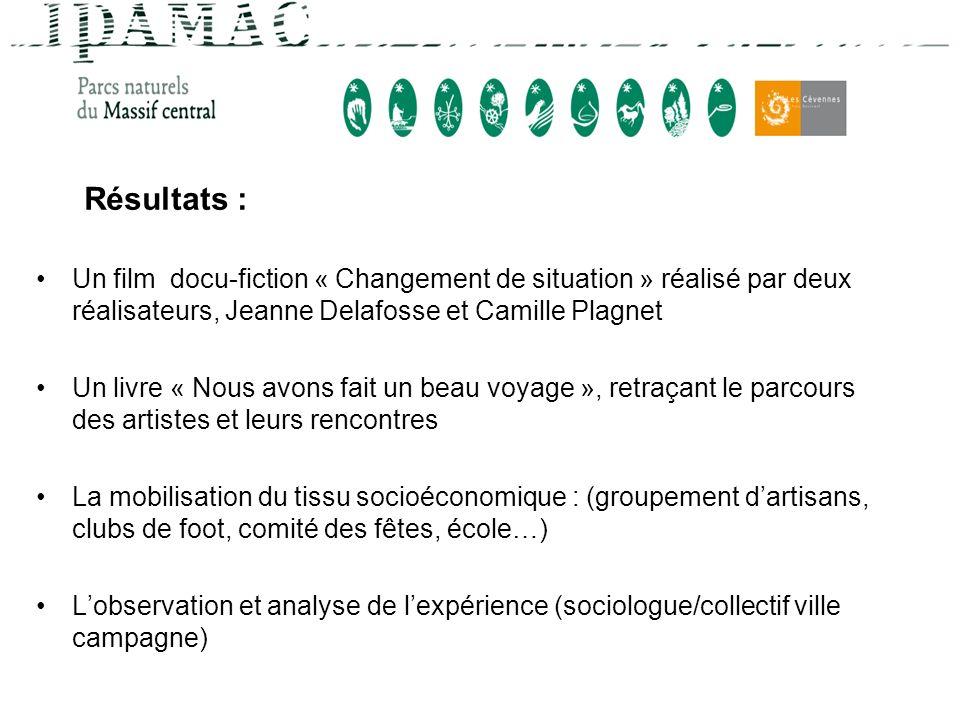 Résultats : Un film docu-fiction « Changement de situation » réalisé par deux réalisateurs, Jeanne Delafosse et Camille Plagnet Un livre « Nous avons
