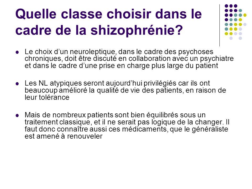 Quelle classe choisir dans le cadre de la shizophrénie? Le choix dun neuroleptique, dans le cadre des psychoses chroniques, doit être discuté en colla
