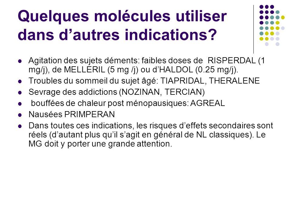 Quelques molécules utiliser dans dautres indications? Agitation des sujets déments: faibles doses de RISPERDAL (1 mg/j), de MELLERIL (5 mg /j) ou dHAL