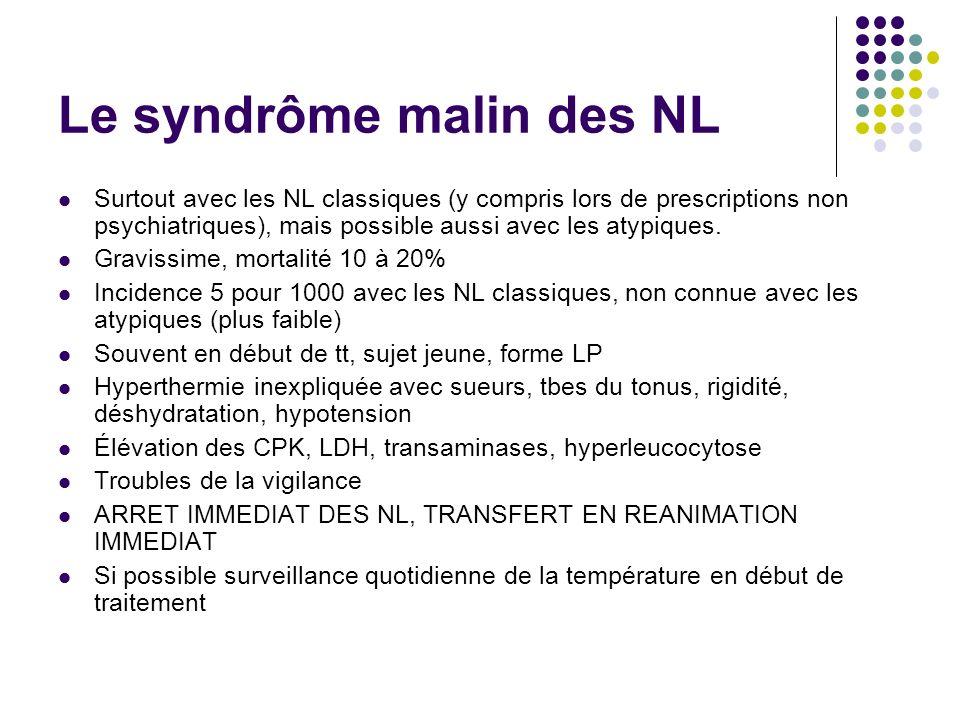 Le syndrôme malin des NL Surtout avec les NL classiques (y compris lors de prescriptions non psychiatriques), mais possible aussi avec les atypiques.