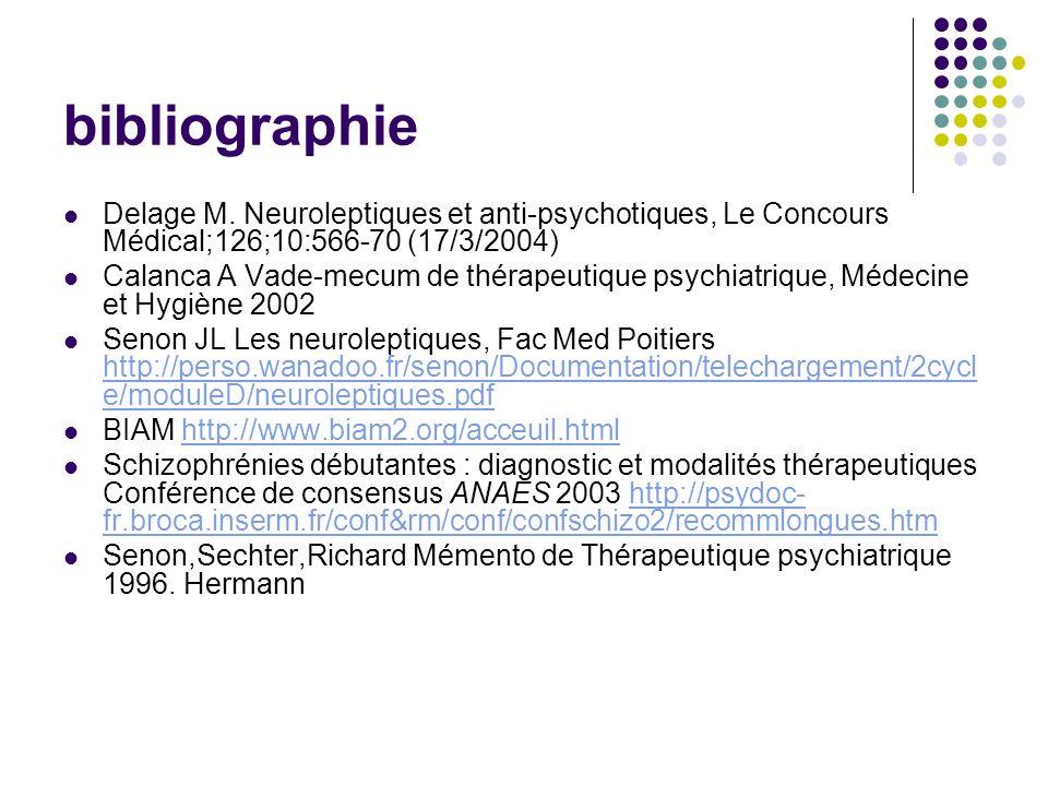 bibliographie Delage M. Neuroleptiques et anti-psychotiques, Le Concours Médical;126;10:566-70 (17/3/2004) Calanca A Vade-mecum de thérapeutique psych