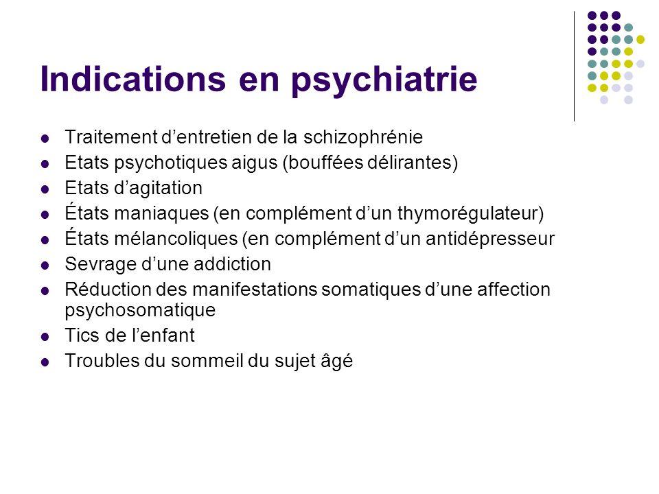 Indications en psychiatrie Traitement dentretien de la schizophrénie Etats psychotiques aigus (bouffées délirantes) Etats dagitation États maniaques (