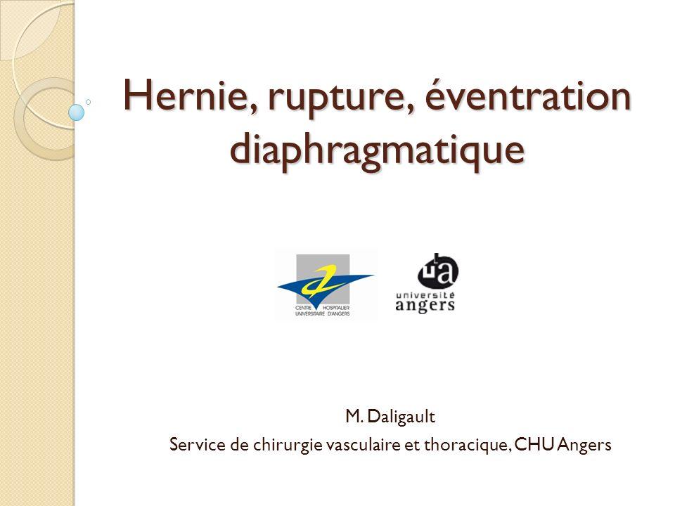 Hernie, rupture, éventration diaphragmatique M. Daligault Service de chirurgie vasculaire et thoracique, CHU Angers