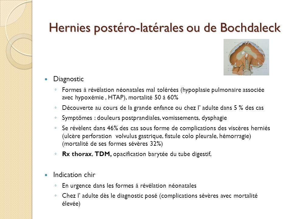 Hernies postéro-latérales ou de Bochdaleck Diagnostic Formes à révélation néonatales mal tolérées (hypoplasie pulmonaire associée avec hypoxémie, HTAP