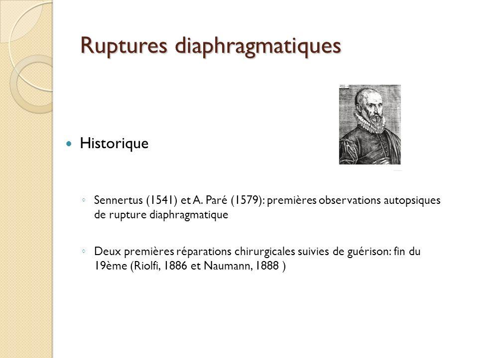 Ruptures diaphragmatiques Historique Sennertus (1541) et A. Paré (1579): premières observations autopsiques de rupture diaphragmatique Deux premières