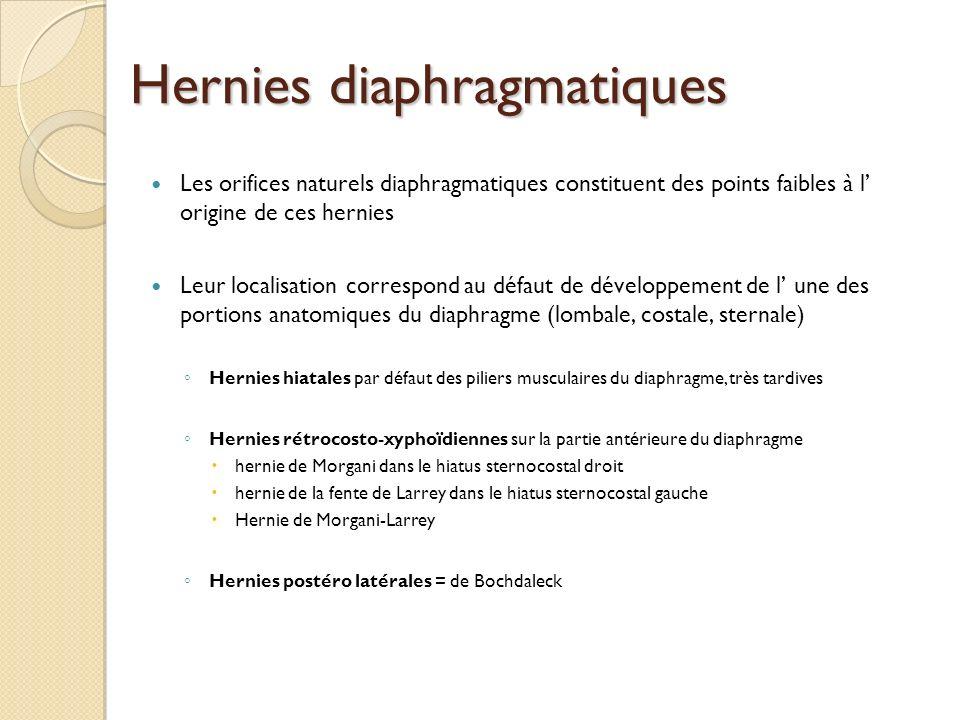 Hernies diaphragmatiques Les orifices naturels diaphragmatiques constituent des points faibles à l origine de ces hernies Leur localisation correspond