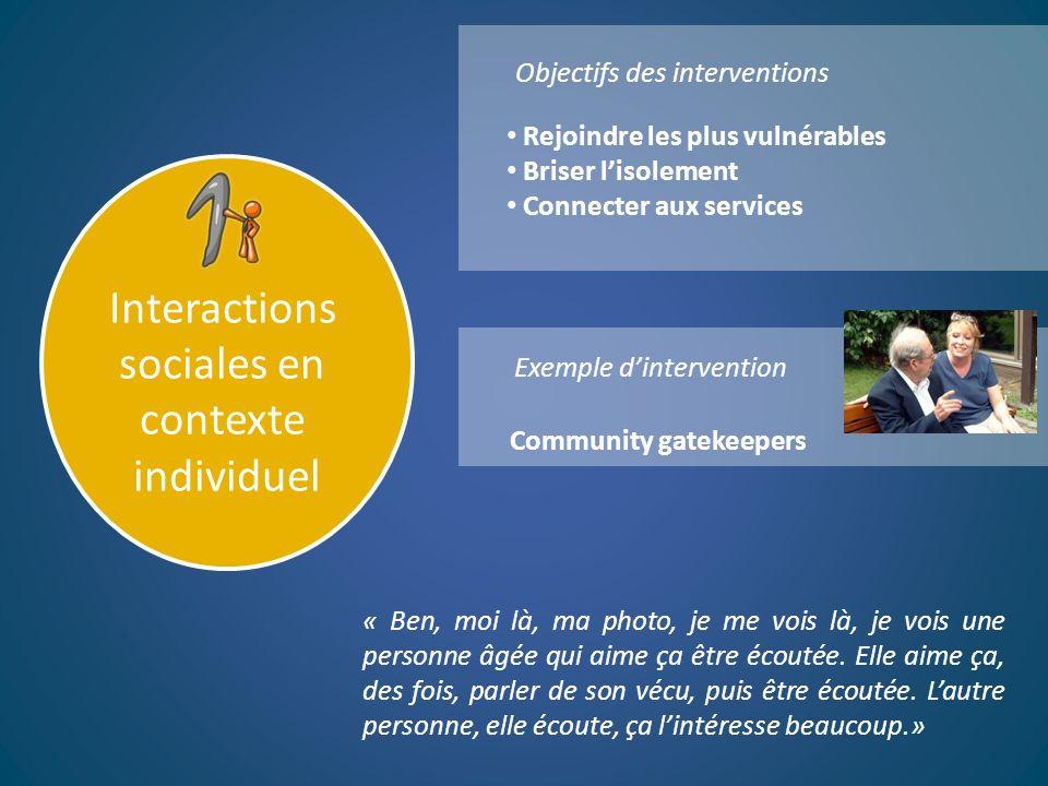 Interactions sociales en contexte individuel Objectifs des interventions Exemple dintervention Rejoindre les plus vulnérables Briser lisolement Connec