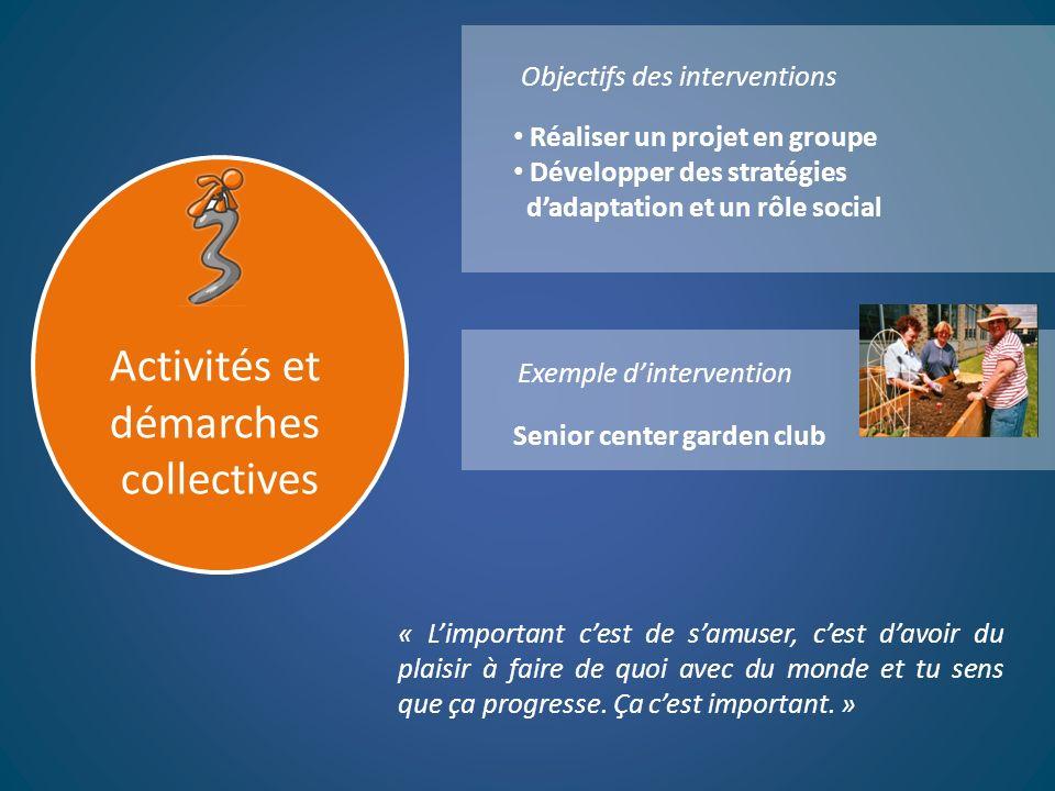 Objectifs des interventions Exemple dintervention Activités et démarches collectives « Limportant cest de samuser, cest davoir du plaisir à faire de q