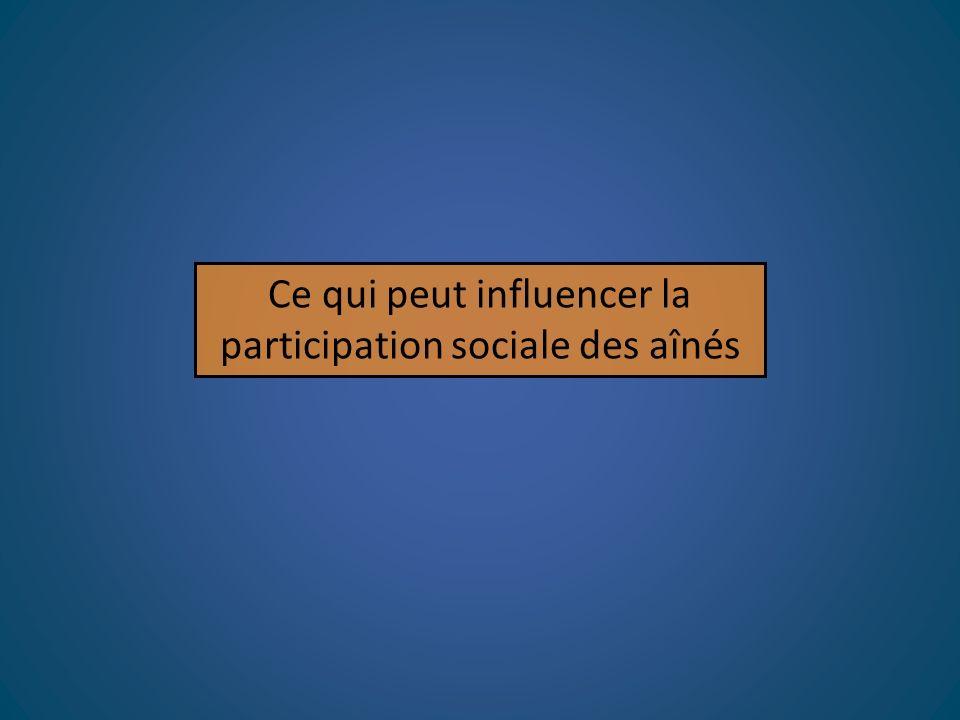 Ce qui peut influencer la participation sociale des aînés