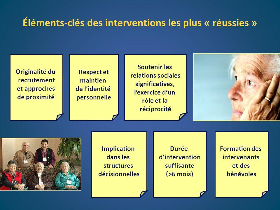 Soutenir les relations sociales significatives, lexercice dun rôle et la réciprocité Formation des intervenants et des bénévoles Respect et maintien d