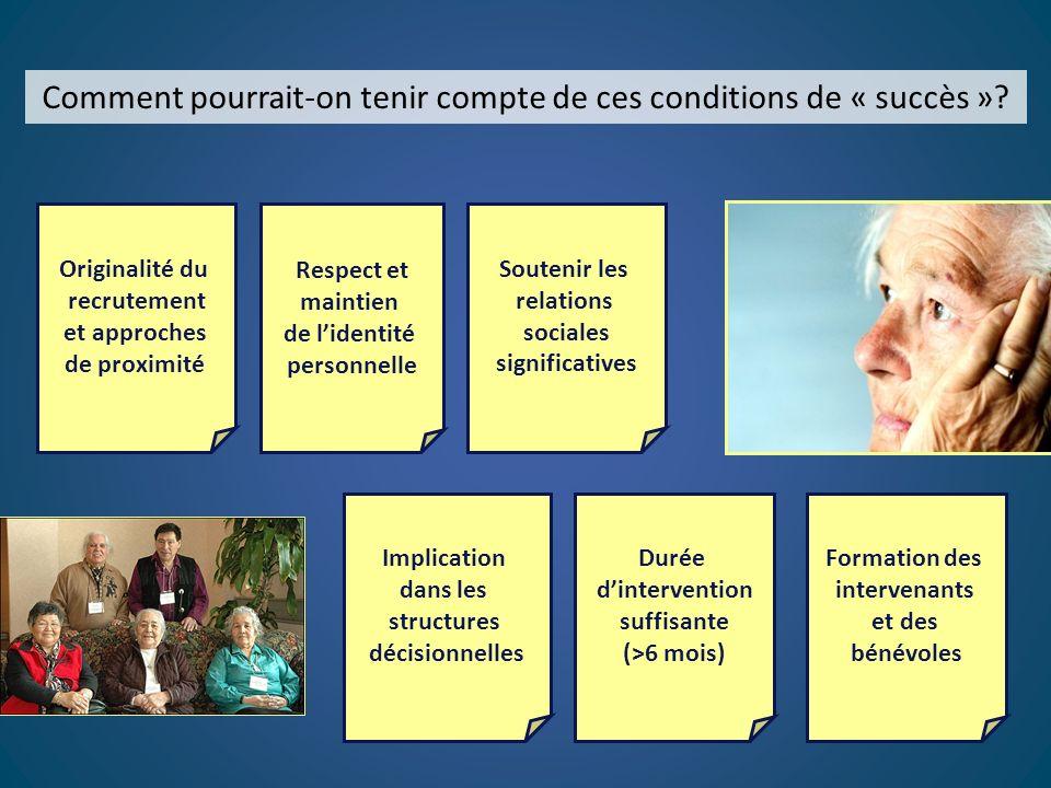 Soutenir les relations sociales significatives Formation des intervenants et des bénévoles Respect et maintien de lidentité personnelle Implication da