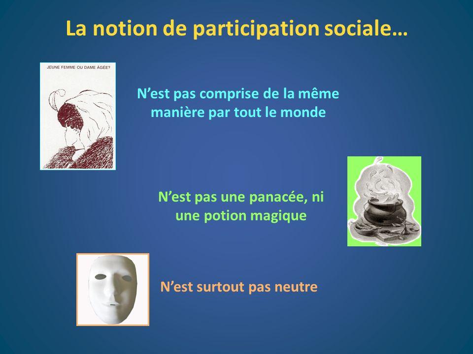 La notion de participation sociale… Nest pas une panacée, ni une potion magique Nest surtout pas neutre Nest pas comprise de la même manière par tout