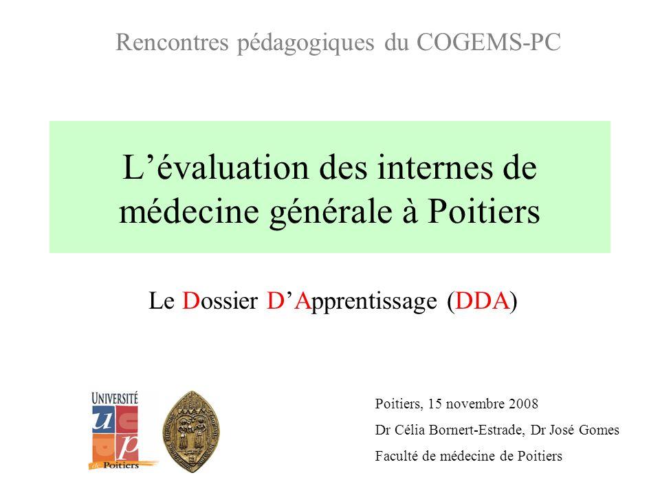 Lévaluation des internes de médecine générale à Poitiers Le Dossier DApprentissage (DDA) Poitiers, 15 novembre 2008 Dr Célia Bornert-Estrade, Dr José