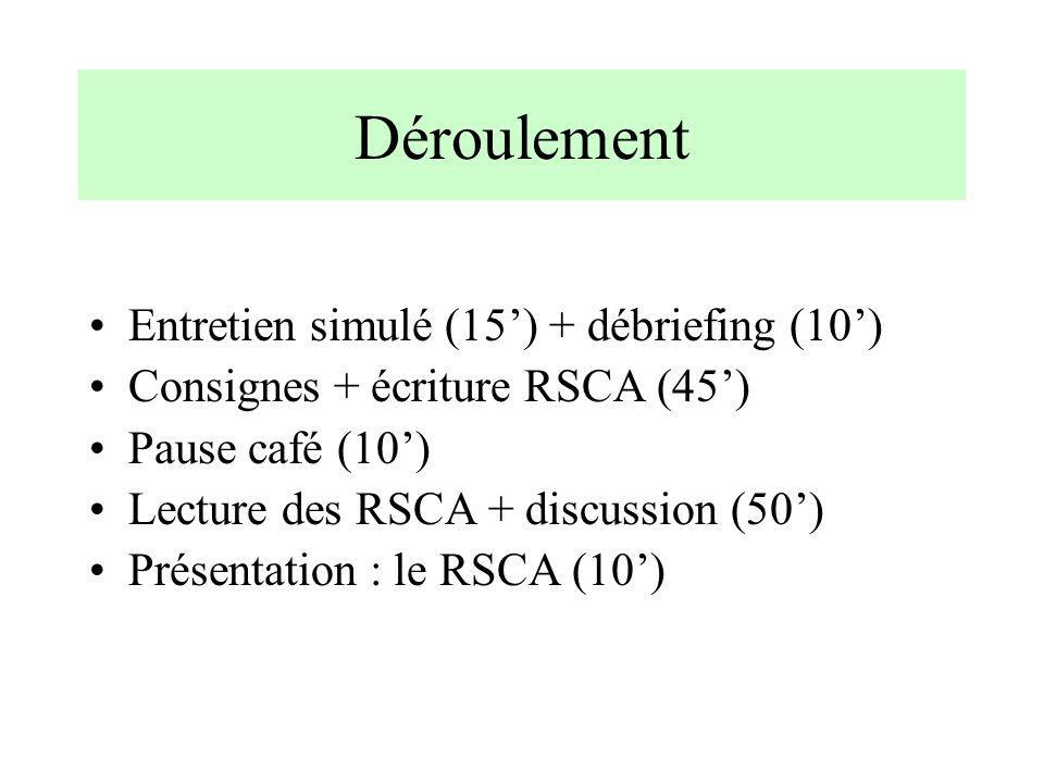 Déroulement Entretien simulé (15) + débriefing (10) Consignes + écriture RSCA (45) Pause café (10) Lecture des RSCA + discussion (50) Présentation : l