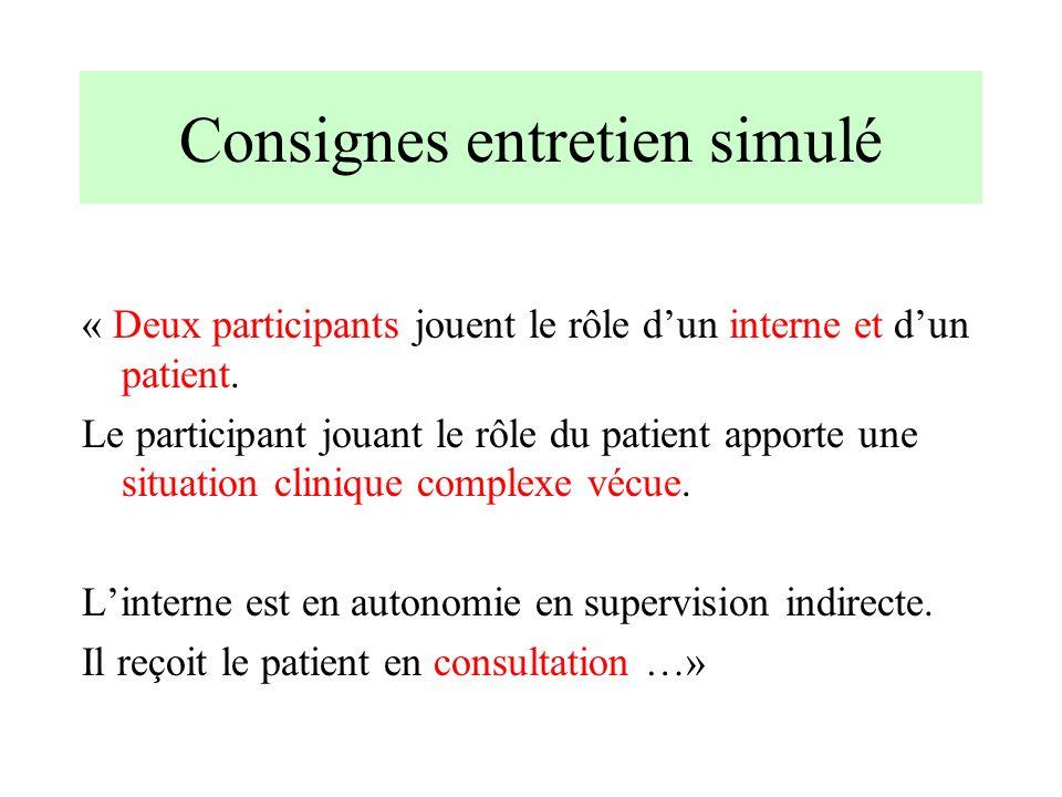 Consignes entretien simulé « Deux participants jouent le rôle dun interne et dun patient. Le participant jouant le rôle du patient apporte une situati