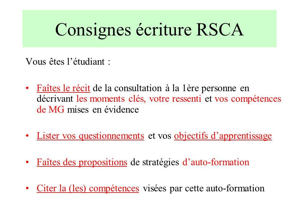 Consignes écriture RSCA Vous êtes létudiant : Faîtes le récit de la consultation à la 1ère personne en décrivant les moments clés, votre ressenti et v