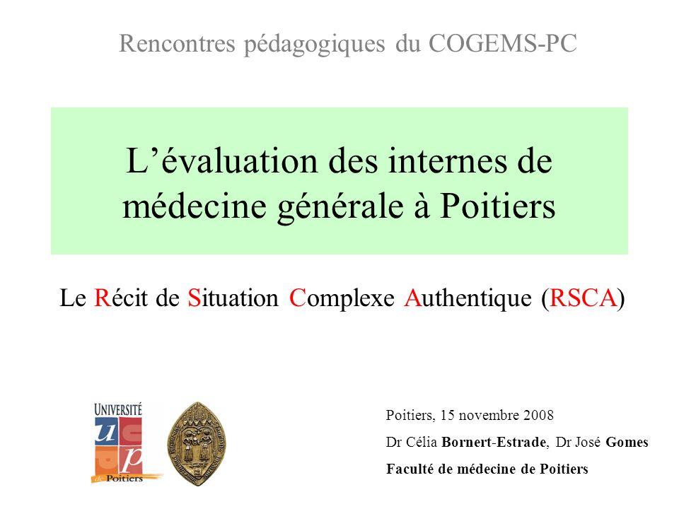 Lévaluation des internes de médecine générale à Poitiers Le Récit de Situation Complexe Authentique (RSCA) Poitiers, 15 novembre 2008 Dr Célia Bornert