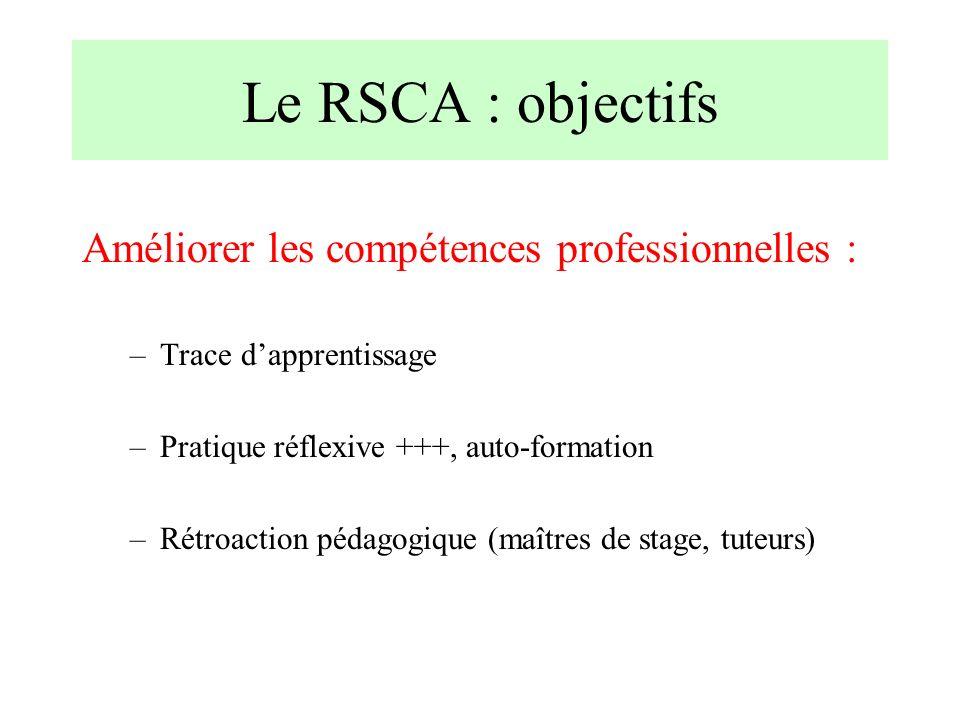 Le RSCA : objectifs Améliorer les compétences professionnelles : –Trace dapprentissage –Pratique réflexive +++, auto-formation –Rétroaction pédagogiqu