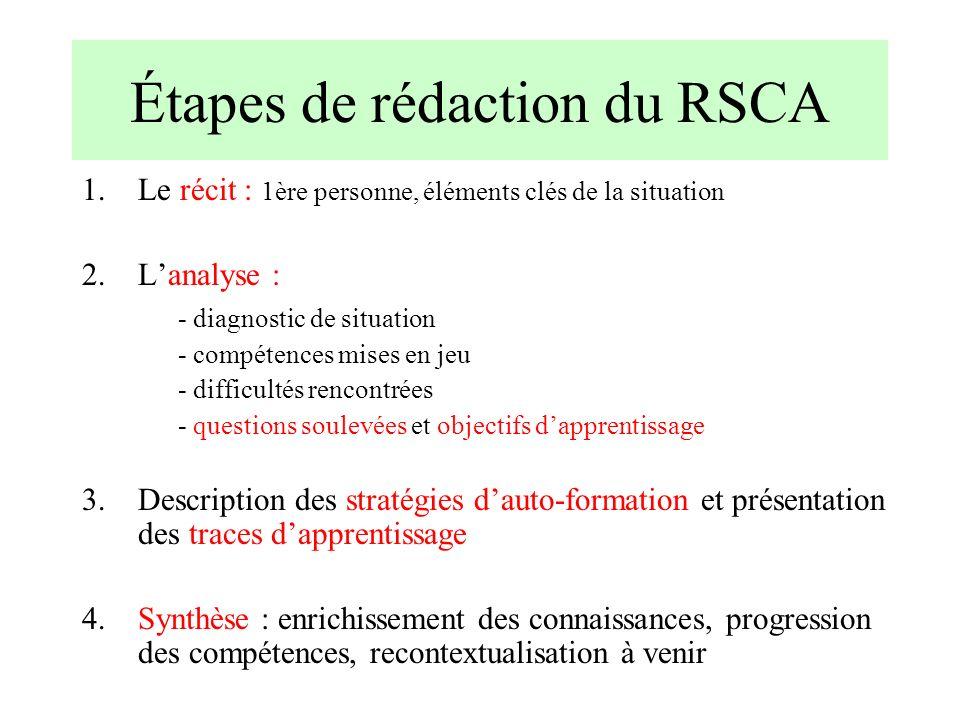 Étapes de rédaction du RSCA 1.Le récit : 1ère personne, éléments clés de la situation 2.Lanalyse : - diagnostic de situation - compétences mises en je