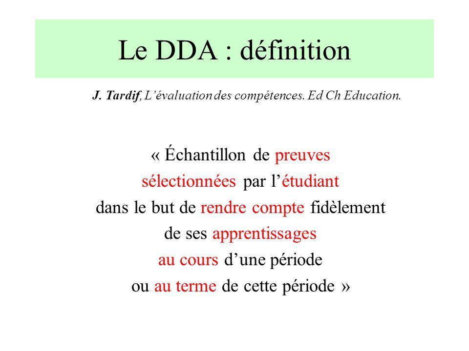 Le DDA : objectifs Guider et soutenir lapprentissage +++ (outil de supervision) Favoriser lauto-régulation Evaluer cet apprentissage –Evaluation formative (auto-évaluation) –Participation à lévaluation normative