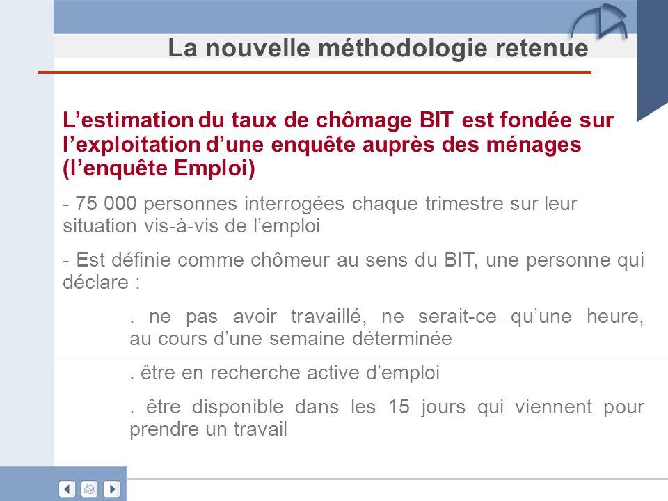 La nouvelle méthodologie retenue Lestimation du taux de chômage BIT est fondée sur lexploitation dune enquête auprès des ménages (lenquête Emploi) - 7