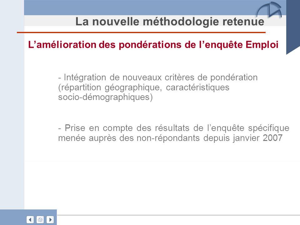 La nouvelle méthodologie retenue Lamélioration des pondérations de lenquête Emploi - Intégration de nouveaux critères de pondération (répartition géog