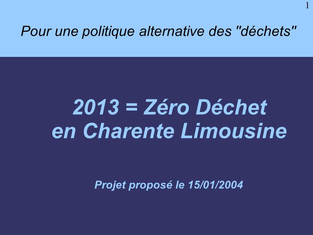 1 Pour une politique alternative des ''déchets'' 2013 = Zéro Déchet en Charente Limousine Projet proposé le 15/01/2004