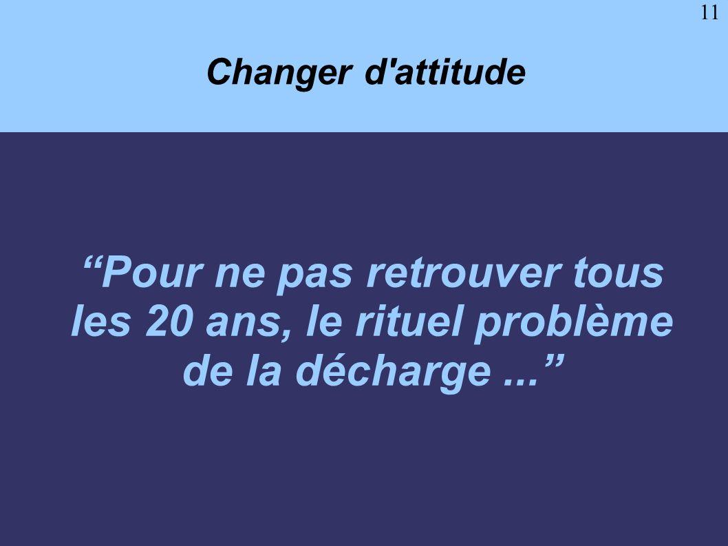 11 Changer d'attitude Pour ne pas retrouver tous les 20 ans, le rituel problème de la décharge...