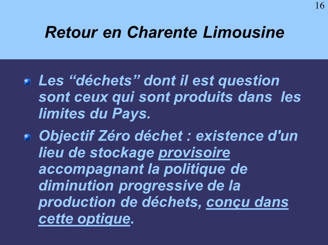 16 Retour en Charente Limousine Les déchets dont il est question sont ceux qui sont produits dans les limites du Pays. Objectif Zéro déchet : existenc