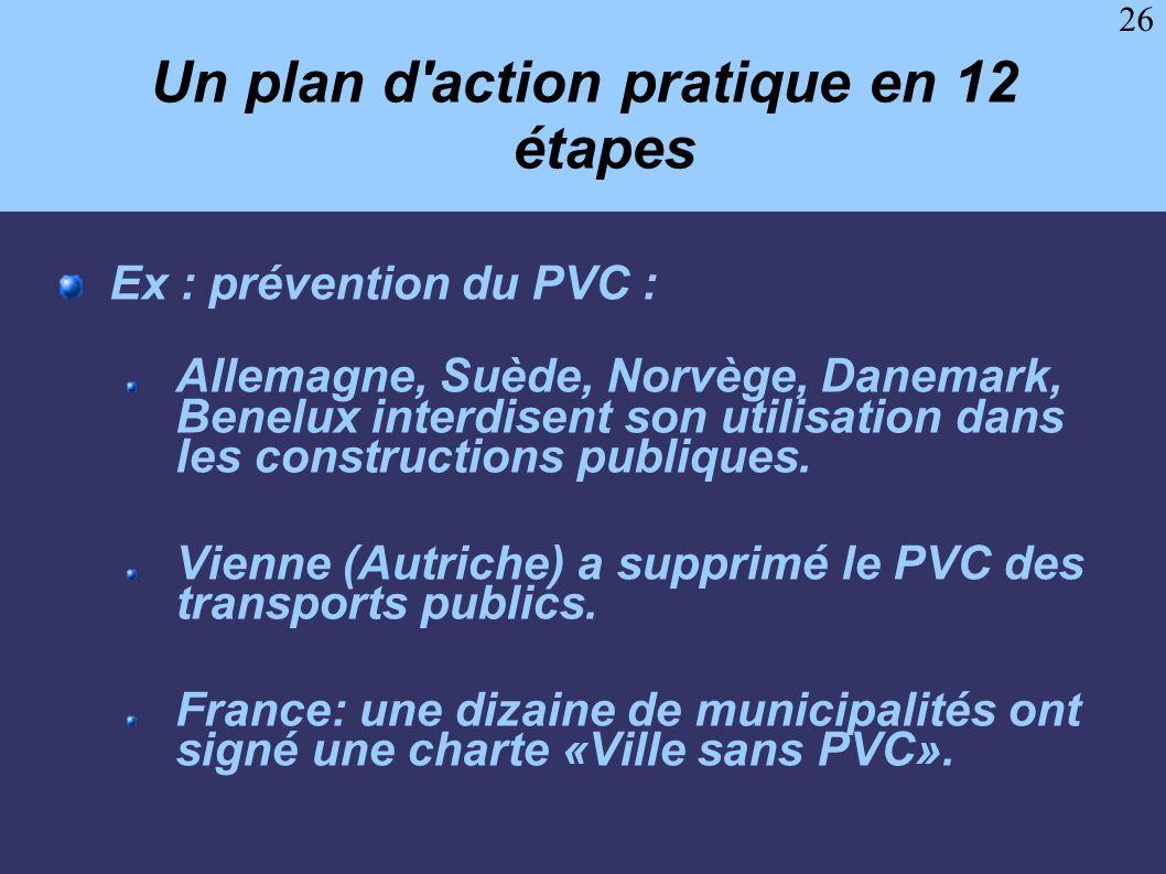 26 Un plan d'action pratique en 12 étapes Ex : prévention du PVC : Allemagne, Suède, Norvège, Danemark, Benelux interdisent son utilisation dans les c