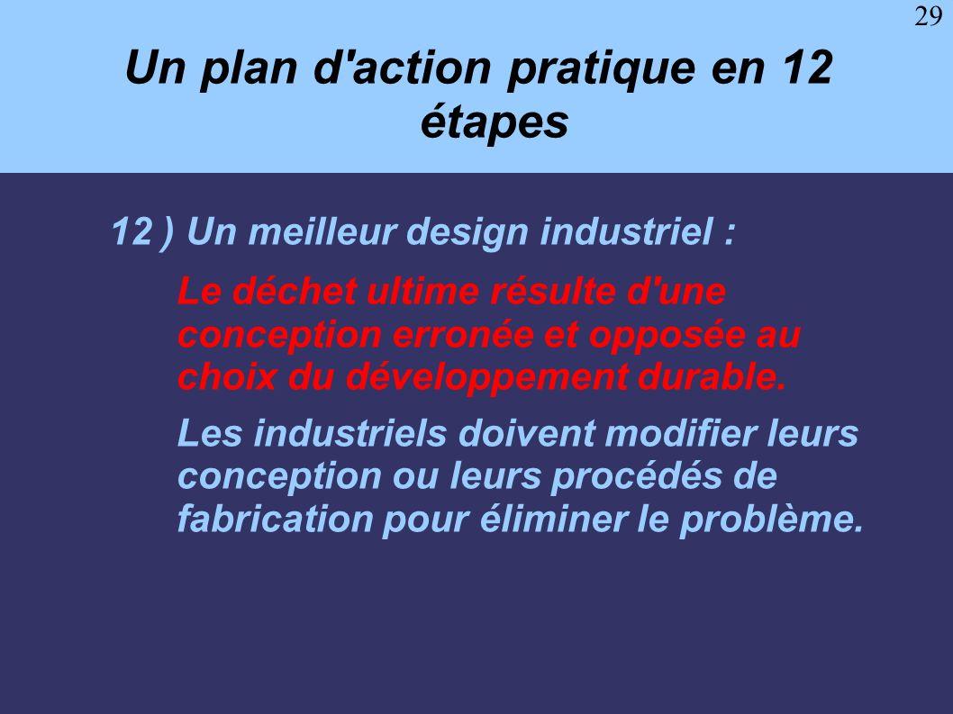 29 Un plan d'action pratique en 12 étapes 12 ) Un meilleur design industriel : Le déchet ultime résulte d'une conception erronée et opposée au choix d
