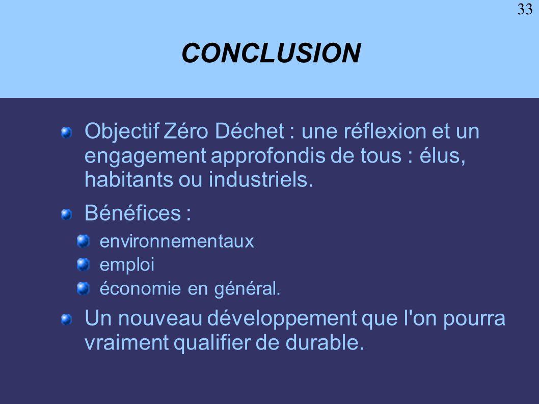 33 CONCLUSION Objectif Zéro Déchet : une réflexion et un engagement approfondis de tous : élus, habitants ou industriels. Bénéfices : environnementaux