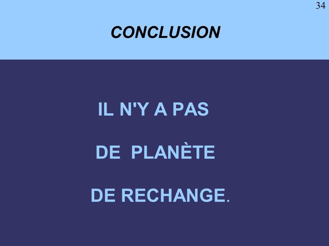 34 CONCLUSION IL N'Y A PAS DE PLANÈTE DE RECHANGE.