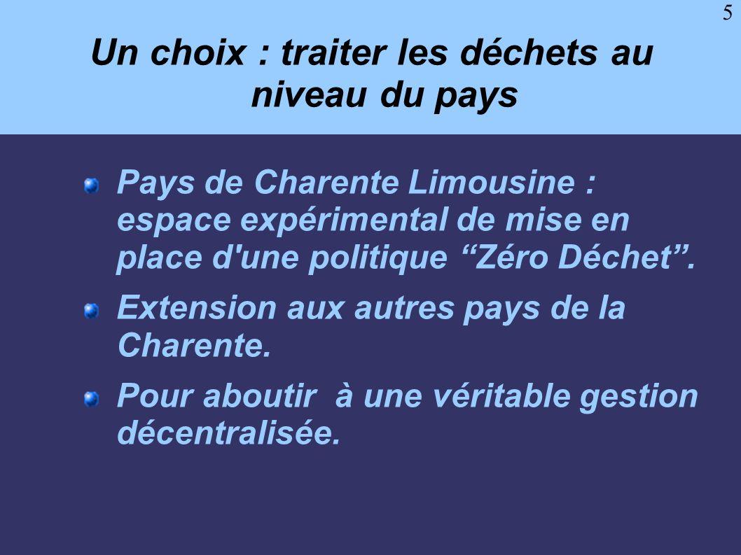 5 Un choix : traiter les déchets au niveau du pays Pays de Charente Limousine : espace expérimental de mise en place d'une politique Zéro Déchet. Exte