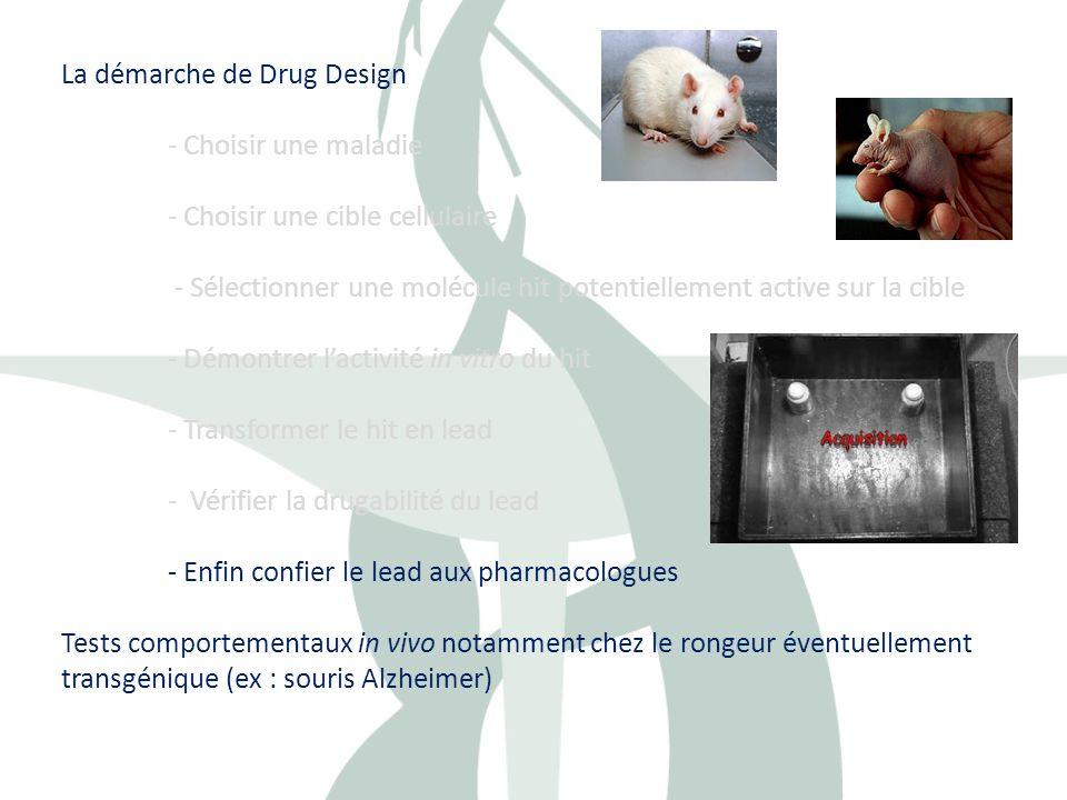 La démarche de Drug Design - Choisir une maladie - Choisir une cible cellulaire - Sélectionner une molécule hit potentiellement active sur la cible -