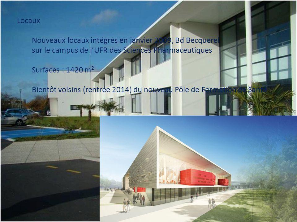 Locaux Nouveaux locaux intégrés en janvier 2009, Bd Becquerel sur le campus de lUFR des Sciences Pharmaceutiques Surfaces : 1420 m² Bientôt voisins (r