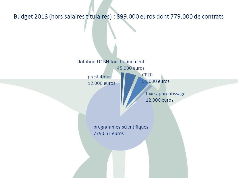 Budget 2013 (hors salaires titulaires) : 899.000 euros dont 779.000 de contrats