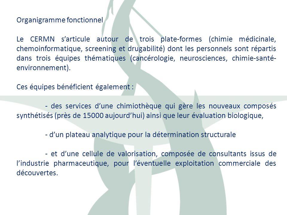Organigramme fonctionnel Le CERMN sarticule autour de trois plate-formes (chimie médicinale, chemoinformatique, screening et drugabilité) dont les per
