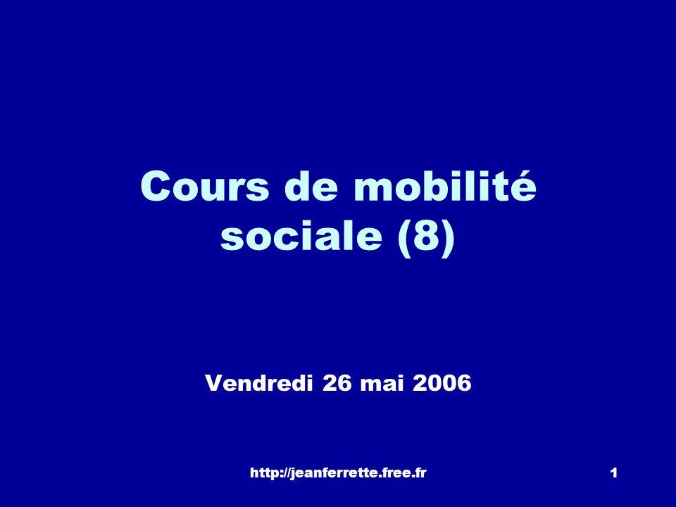 http://jeanferrette.free.fr1 Cours de mobilité sociale (8) Vendredi 26 mai 2006