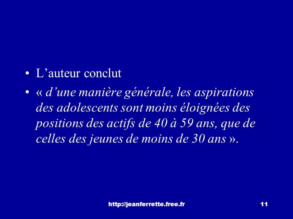 http://jeanferrette.free.fr10 une forte tendance des adolescents à reproduire la position sociale du père ou à projeter une « ascension raisonnable »