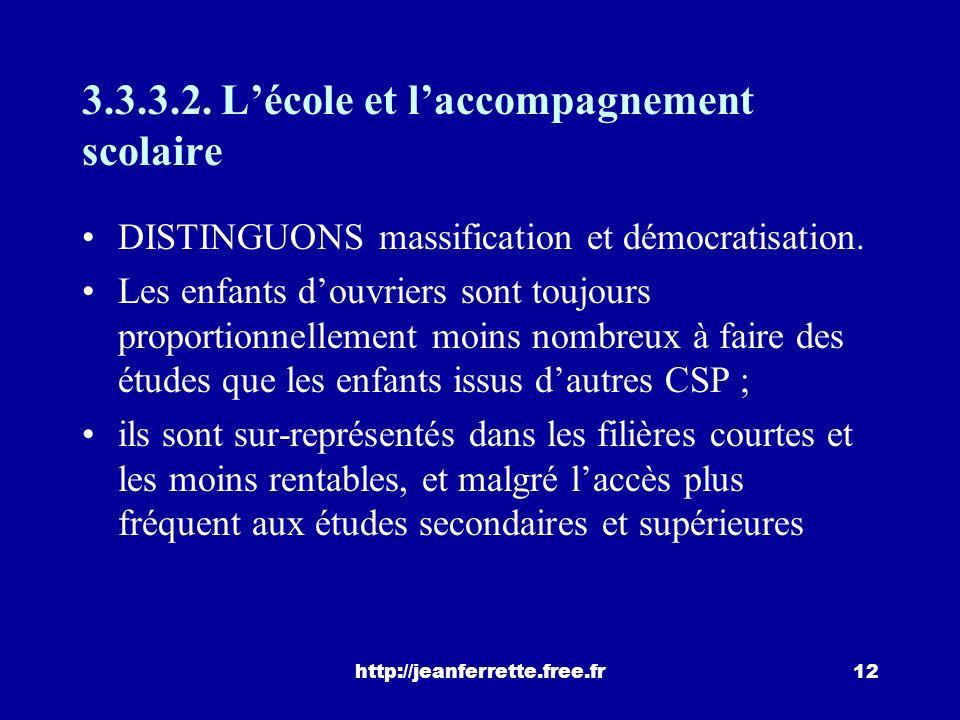 http://jeanferrette.free.fr11 Lauteur conclut « dune manière générale, les aspirations des adolescents sont moins éloignées des positions des actifs d