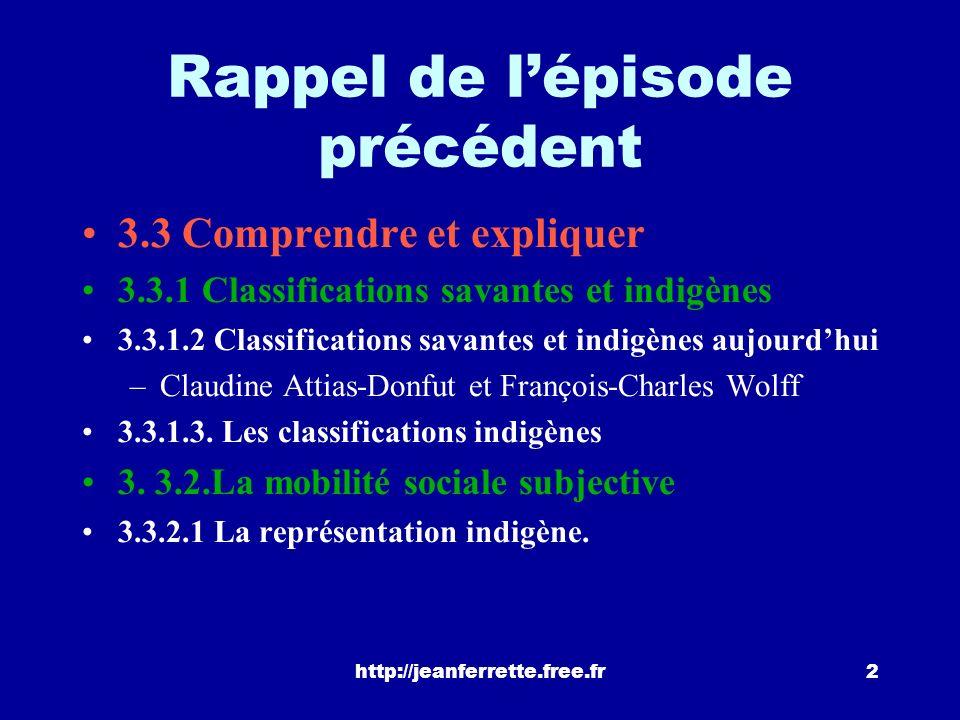 http://jeanferrette.free.fr2 Rappel de lépisode précédent 3.3 Comprendre et expliquer 3.3.1 Classifications savantes et indigènes 3.3.1.2 Classifications savantes et indigènes aujourdhui –Claudine Attias-Donfut et François-Charles Wolff 3.3.1.3.
