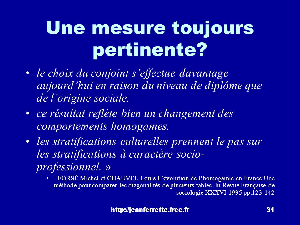 http://jeanferrette.free.fr30 Types dalliance En noir, gras: homogamie. En rouge: hypergamie. En vert: Hypogamie